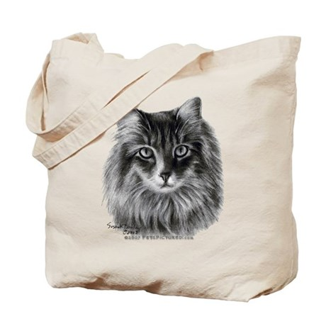 Long-Haired Gray Cat Tote Bag