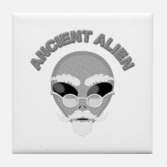 Alien Head In Halftone Tile Coaster