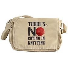 No Crying In Knitting Messenger Bag