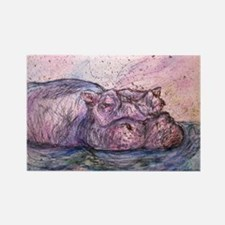 Funny Hippopotamus Rectangle Magnet