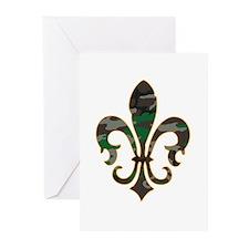 Camo Fleur De lis Greeting Cards