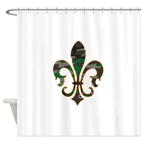 Camo fleur de lis shower curtain by cajundesign - Fleur de lis shower curtain hooks ...