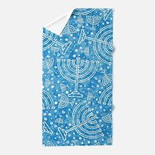 Hanukkah Menorah Pattern Beach Towel