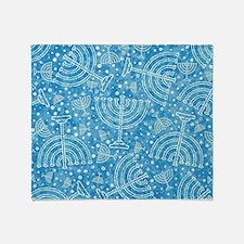 Hanukkah Menorah Pattern Throw Blanket