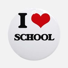 I Love School Ornament (Round)