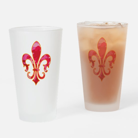 Pink Camo Fleur Drinking Glass