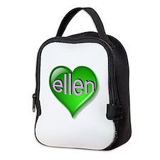 the emerald ellen heart Neoprene Lunch Bag
