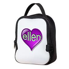 the purple passion ellen heart Neoprene Lunch Bag