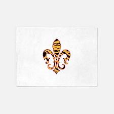 Tiger print Fleur De lis 5'x7'Area Rug