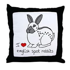 I Love English Spot Rabbits Throw Pillow