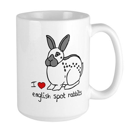 I Love English Spot Rabbits Large Mug
