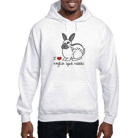 I Love English Spot Rabbits Hooded Sweatshirt