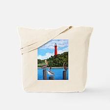 Jupiter Inlet Lighthouse Pelicans Tote Bag