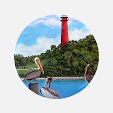 "Jupiter Inlet Lighthouse Pelicans 3.5"" Button"