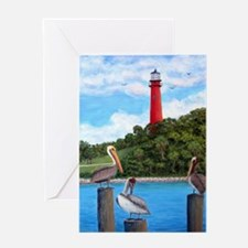 Jupiter Inlet Lighthouse Pelicans Greeting Cards