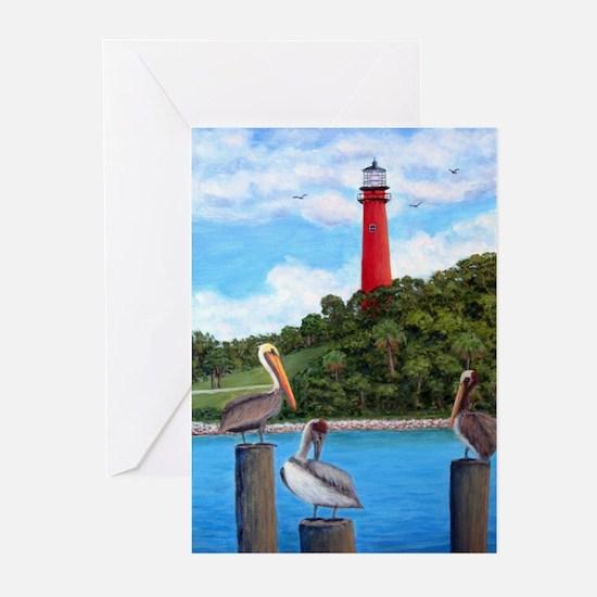 Jupiter Inlet Lighthouse Pelicans Greeting Cards