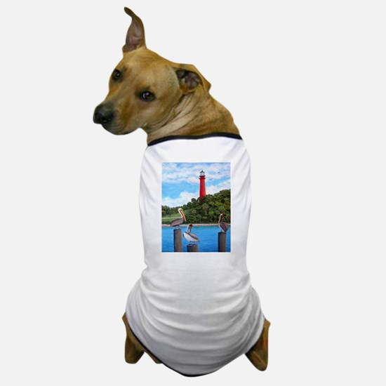 Jupiter Inlet Lighthouse Pelicans Dog T-Shirt