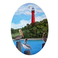 Jupiter Inlet Lighthouse Pelicans Ornament (Oval)