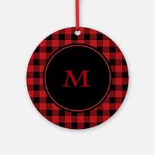 Red Black Plaid Monogram Ornament (Round)