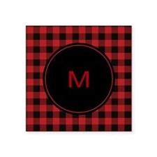 "Red Black Plaid Monogram Square Sticker 3"" x 3"""