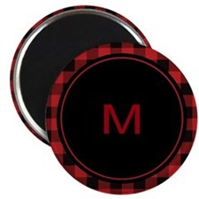Red Black Plaid Monogram Magnet