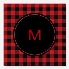 "Red Black Plaid Monogram Square Car Magnet 3"" x 3"""