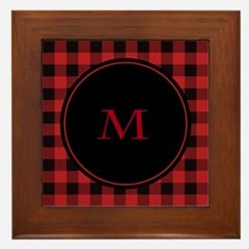 Red Black Plaid Monogram Framed Tile