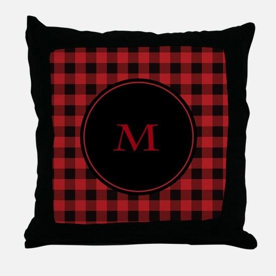 Red Black Plaid Monogram Throw Pillow
