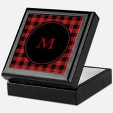 Red Black Plaid Monogram Keepsake Box