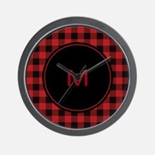 Red Black Plaid Monogram Wall Clock
