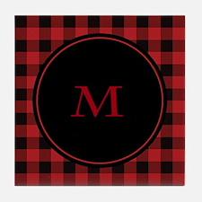 Red Black Plaid Monogram Tile Coaster
