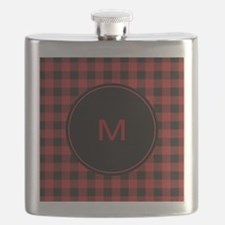 Red Black Plaid Monogram Flask