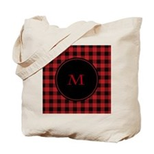 Red Black Plaid Monogram Tote Bag