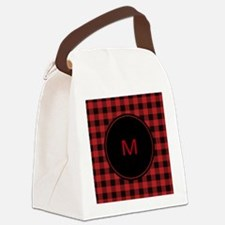 Red Black Plaid Monogram Canvas Lunch Bag