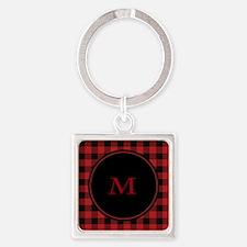Red Black Plaid Monogram Square Keychain
