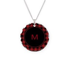 Red Black Plaid Monogram Necklace