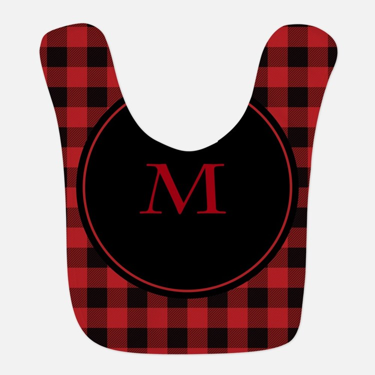 Red Black Plaid Monogram Bib