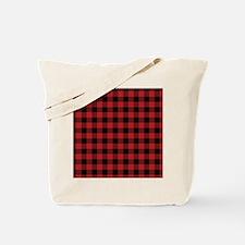 Red Black Flannel Plaid Tote Bag