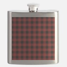 Red Black Flannel Plaid Flask