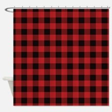 Red Black Flannel Plaid Shower Curtain