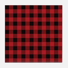 Red Black Flannel Plaid Tile Coaster