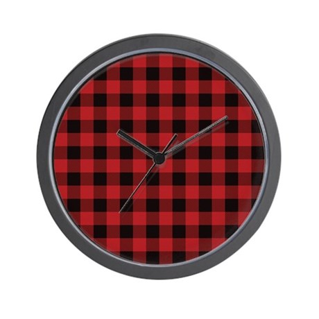 Red black flannel plaid wall clock by organicpixels for Red and black wall clock