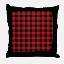 Red Black Flannel Plaid Throw Pillow