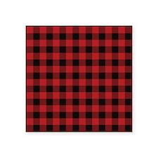 "Red Black Flannel Plaid Square Sticker 3"" x 3"""