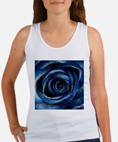 Decorative Blue Rose Bloom Tank Top