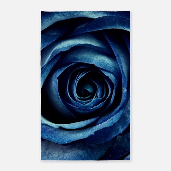 Decorative Blue Rose Bloom Area Rug