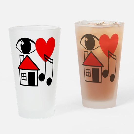 I Love House Music Drinking Glass