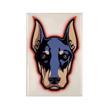 Doberman Face Rectangle Magnet