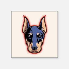 "Doberman Face Square Sticker 3"" x 3"""