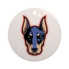 Doberman Face Ornament (Round)